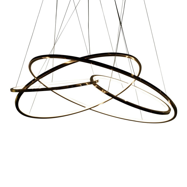Modern LED Oval Rings Four Chandelier Pendant Light in Gold Contemporary For Sale
