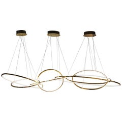 LED Oval Rings Seven Chandelier Pendant Light in Gold Contemporary