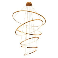 LED Swirl Six Ring Chandelier Pendant Light Contemporary
