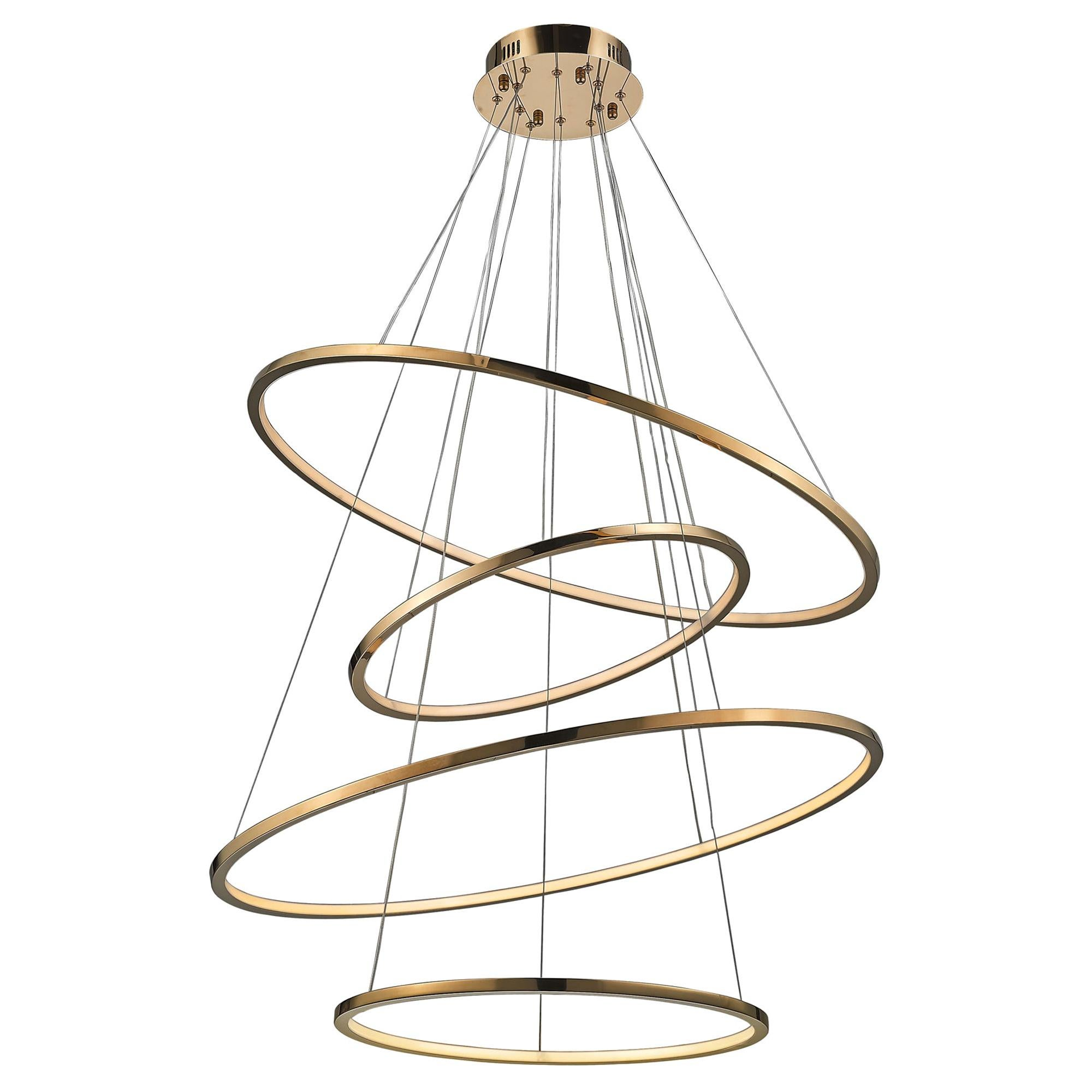 LED Swirl Four Ring Chandelier Pendant Light in Gold Contemporary