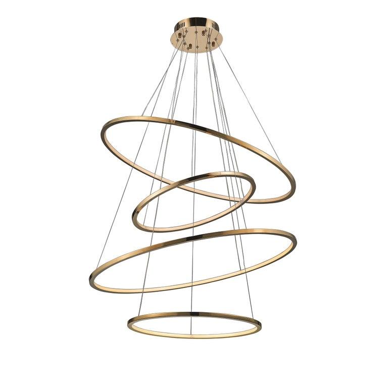 LED Swirl Four Ring Chandelier Pendant Light In Gold