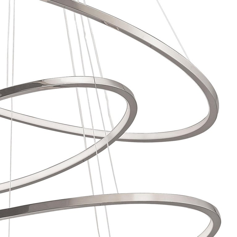 Plated LED Swirl Six Ring Chandelier Pendant Light Contemporary For Sale