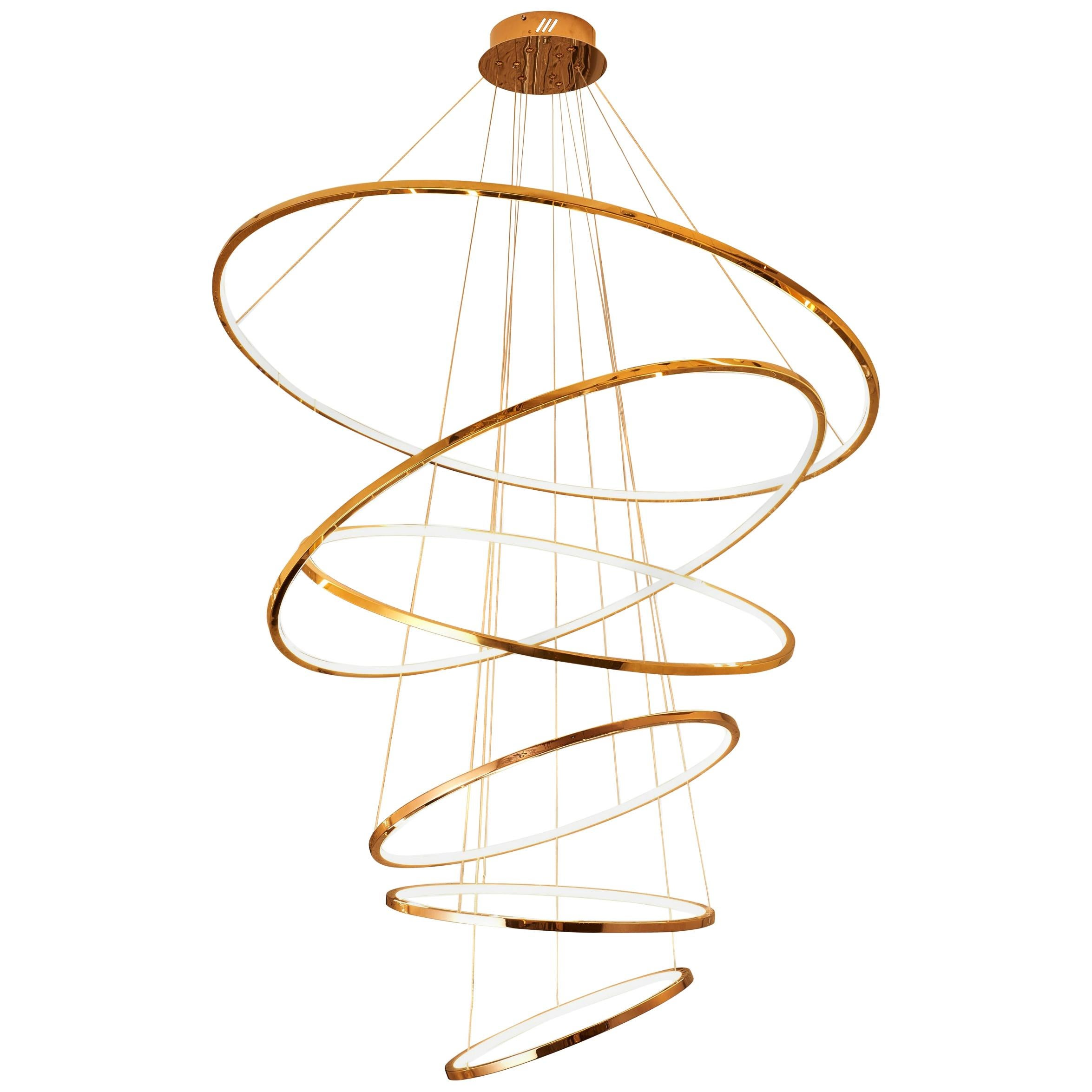 LED Swirl Six Ring Chandelier Pendant Light in Gold Contemporary