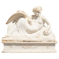 Leda and the Swam Hand Carved Life-Size White Marble Sculptures with Base