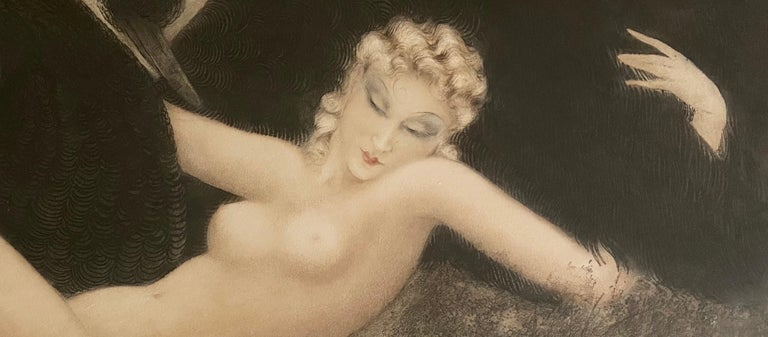Art Deco Leda and the Swan, by Louis Icart For Sale