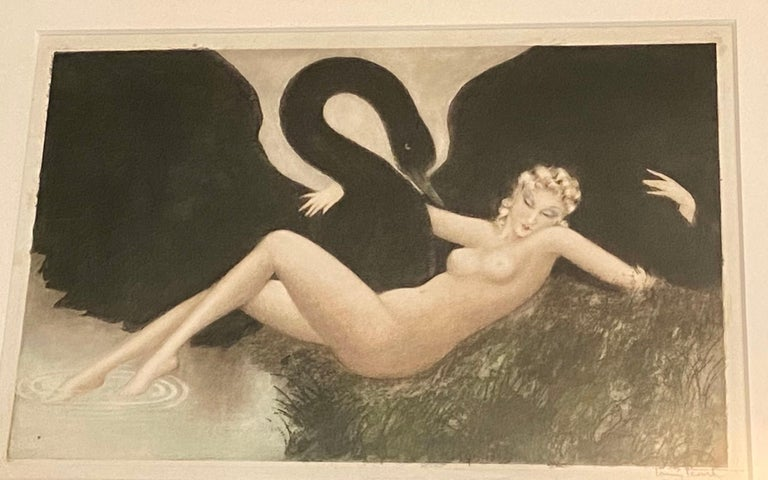 Louis Icart (1888-1950) Leda and the Sawn, signed etching and hand coloured aquatint, dating to 1934 Measures: 84 x 110 cm overall.