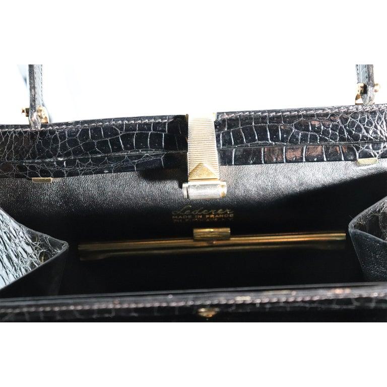 Lederer Black Alligator Purse W/ Gold Hardware & Expandable Frame For Sale 1