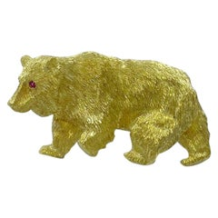 Lederman 18 Karat Yellow Gold Bear Brooch with Ruby Eyes