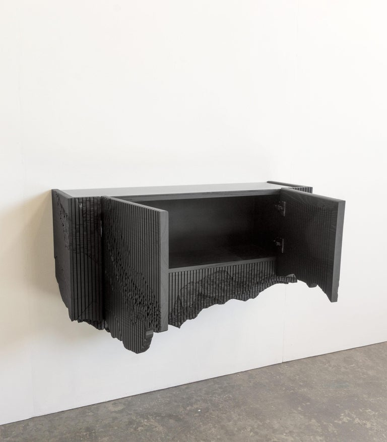 Hand-Carved Ledge Console in Black, Floating, by Simon Johns For Sale