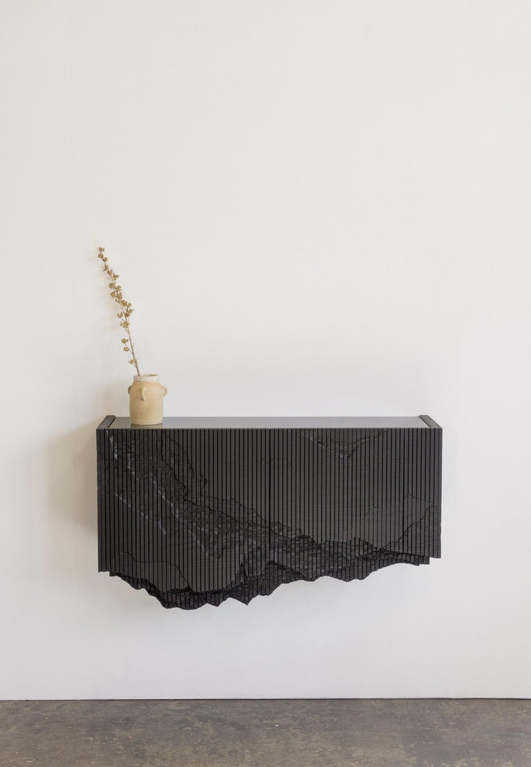 Contemporary Ledge Console in Black, Floating, by Simon Johns For Sale