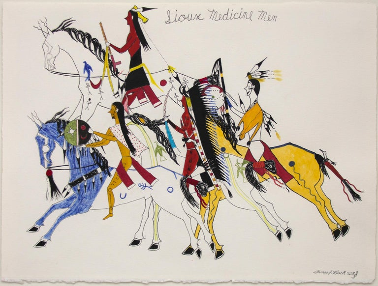 Original James black mixed-media traditional ledger style drawing depicting Sioux Medicine Men on horseback in full regalia. Oil based colored pencil on paper. Presented in a custom frame, outer dimensions measure 26 ¼ x 31 ¾ x ¾ inches. Image size
