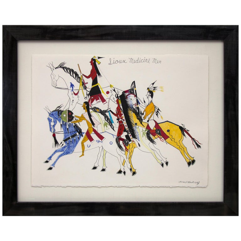 "Ledger Art, ""Sioux Medicine Men"" by James Black 'Cheyenne' For Sale"