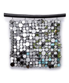 Black Mirror Tapestry: A wall hanging of mirrors and fallen willow wood