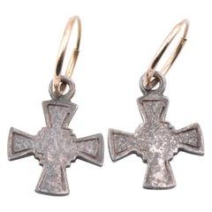 Lee Brevard 14 Karat Yellow Gold and Sterling Silver Cross Huggie Hoop Earrings