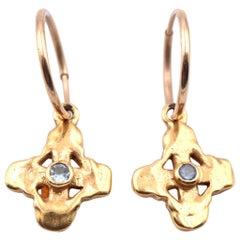 Lee Brevard 18 Karat Yellow Gold Aquamarine Cross Huggie Hoop Earrings