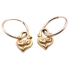 Lee Brevard 18 Karat Yellow Gold Heart Huggie Earrings