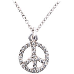 Lee Brevard Sterling Silver Diamond Peace Symbol Necklace