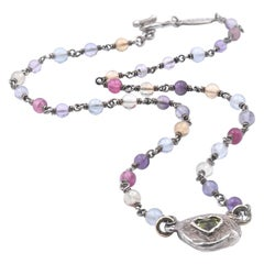 Lee Brevard Sterling Silver Multi-Gemstone and Peridot Heart Necklace