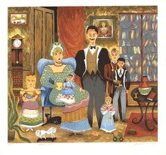 1985 Lee Dubin 'Family Portrait' Folk Art Multicolor,Brown,Orange,Blue,Pink