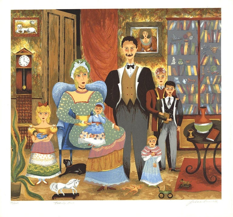 1985 Lee Dubin 'Family Portrait' Folk Art Multicolor,Brown,Orange,Blue,Pink - Print by Lee Dubin