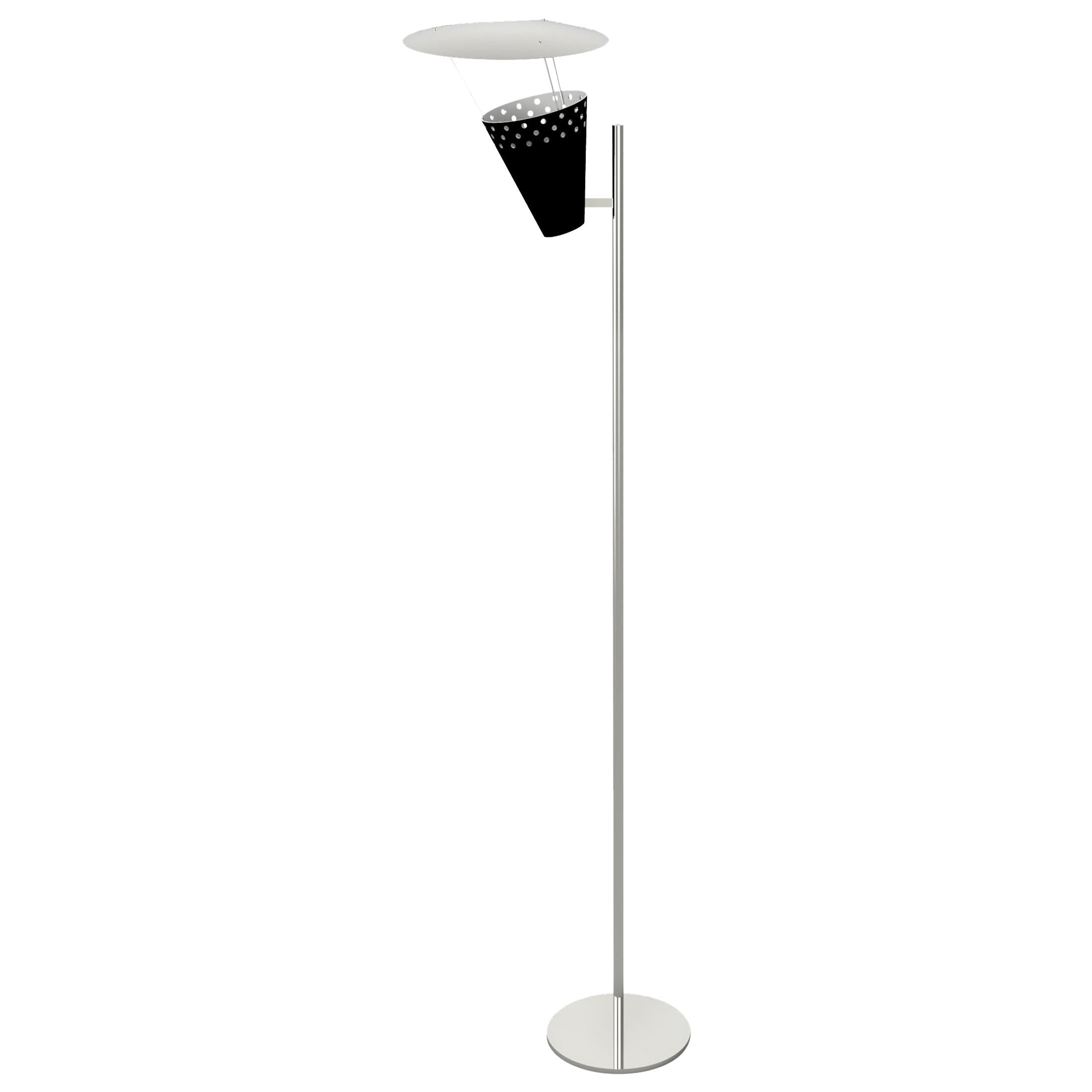 Lee Floor Lamp in Brass with Silver Detail