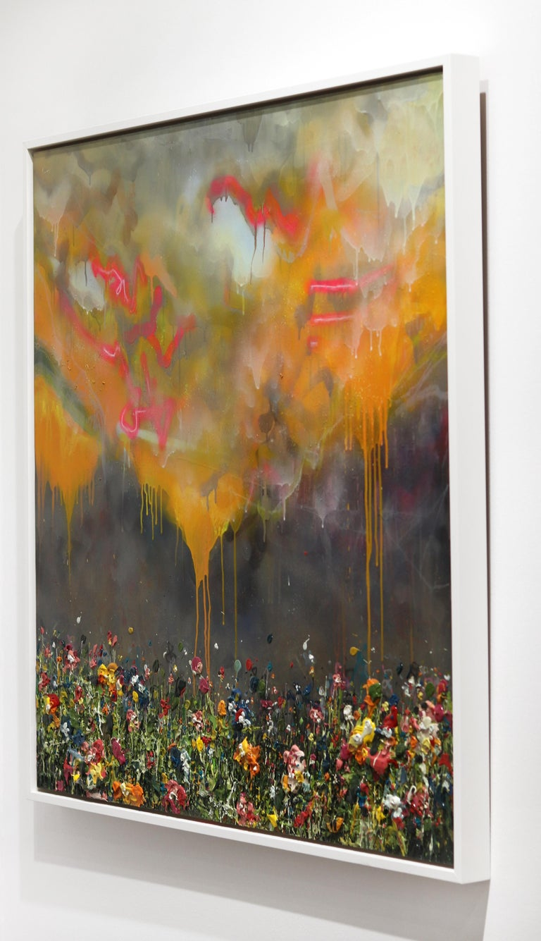 Thunderous Glow - Original Textural Floral Artwork For Sale 1