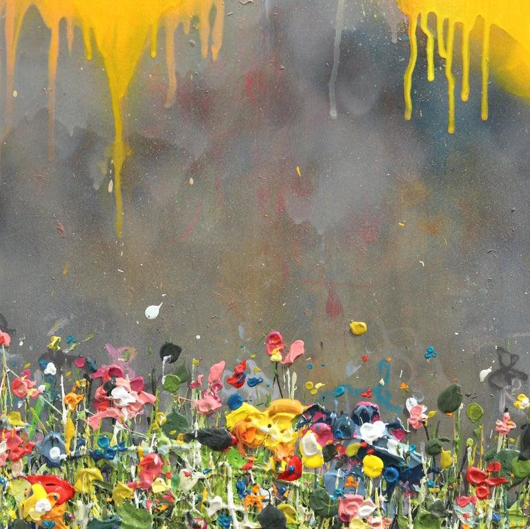 Thunderous Glow - Original Textural Floral Artwork For Sale 2
