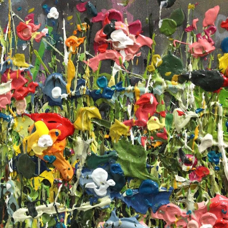 Thunderous Glow - Original Textural Floral Artwork For Sale 3
