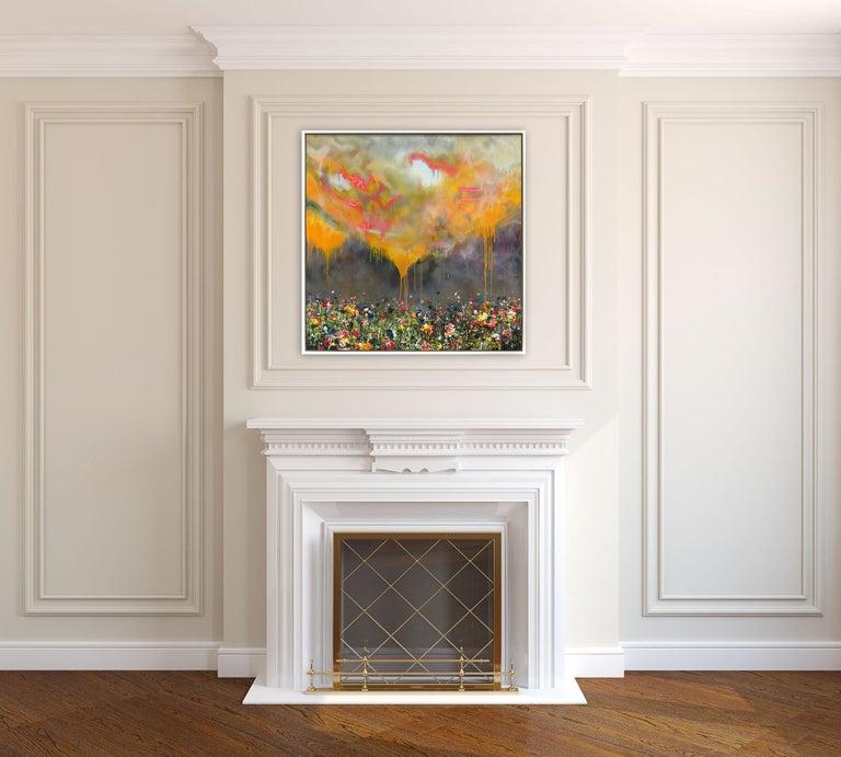 Thunderous Glow - Original Textural Floral Artwork For Sale 5