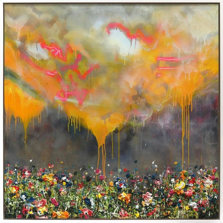 Thunderous Glow - Original Textural Floral Artwork - Mixed Media Art by Lee Herring