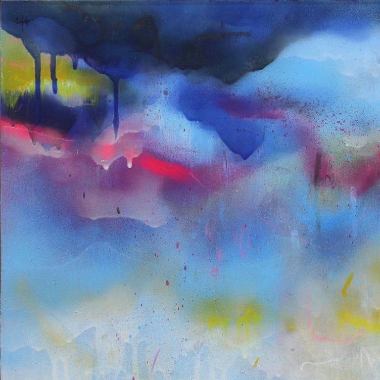 Dripping Clouds - Abstract Painting by Lee Herring