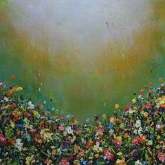 Emerald Burst, colourful textured art, wall art, red, green, yellow
