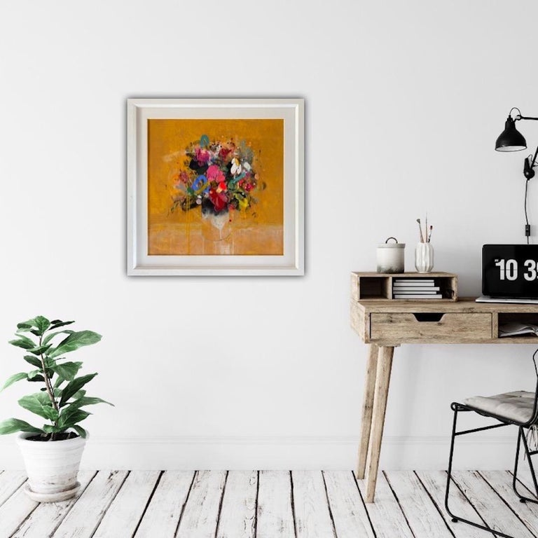 Lee Herring Golden Light Original Abstract Still Life Painting Mixed Media on Canvas Size: H 75cm x W 75cm Sold in a White Wood Frame Please note that insitu images are purely an indication of how a piece may look.  Golden Light is a contemporary