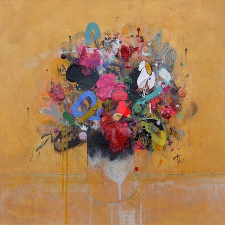 Lee Herring, Golden Light Original, Abstract Still Life Painting, Affordable Art For Sale 7