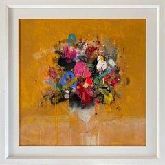 Lee Herring, Golden Light Original, Abstract Still Life Painting, Affordable Art