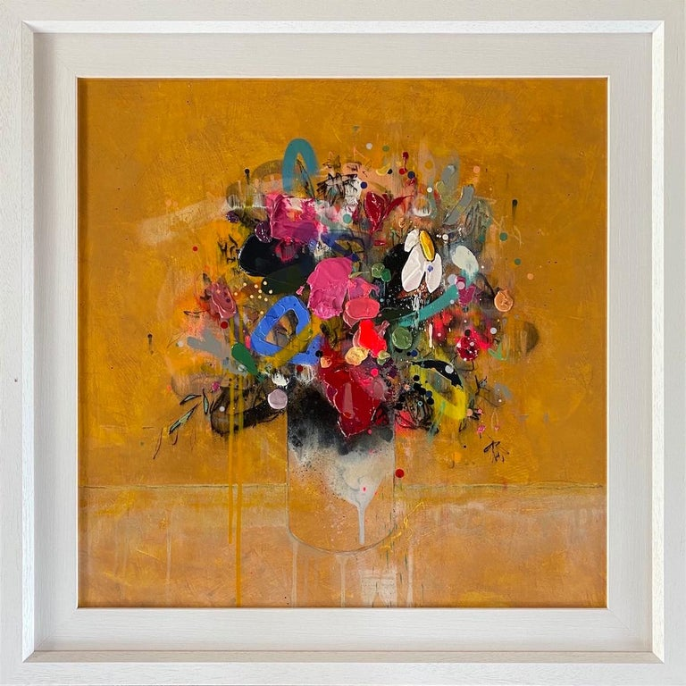 Lee Herring, Golden Light Original, Abstract Still Life Painting, Affordable Art - Brown Abstract Painting by Lee Herring