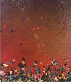 Lee herring, Purple Sunfall, Original abstract painting