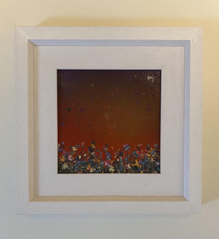Lee Herring Purple Sunfall Original Mixed Media Painting of Spray Paint, Oil, Varnishes, Acrylic on a Wooden Panel  Image size: H 22 x W 22cm Framed size: H 37 x W 37cm (Please note that in situ images are purely an indication of how a piece may