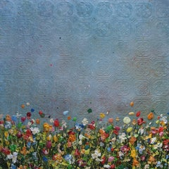Textured Light, abstract painting of flowers in a meadow, colourful painting