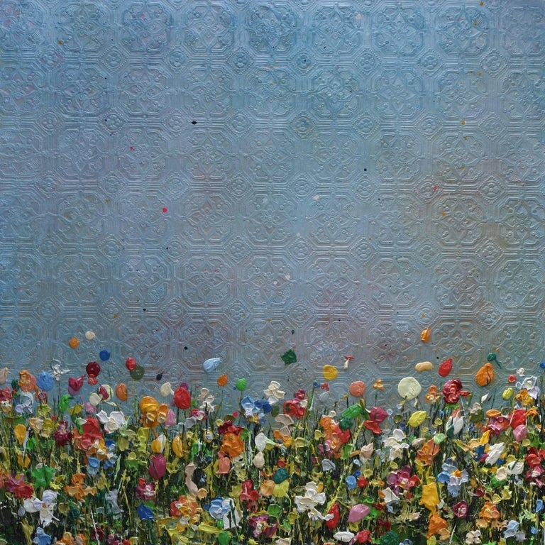 Lee Herring Abstract Painting - Textured Light, abstract painting of flowers in a meadow, colourful painting