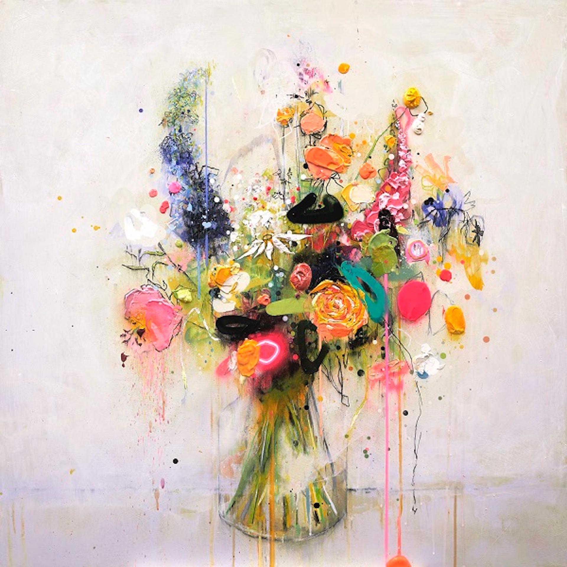 Lee Herring, Blazing Stems, Contemporary Still Life Floral Print