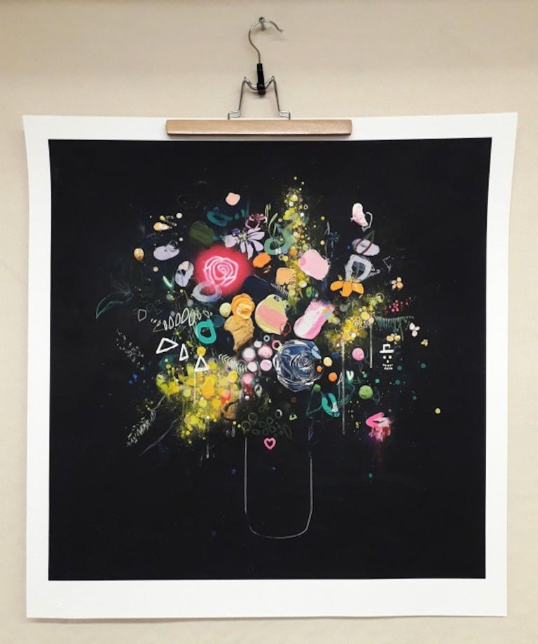 Glowing Rose [2021] Limited Edition Still Life Giclee print Edition number 20 Image size: H:90 cm x W:90 cm Complete Size of Unframed Work: H:98 cm x W:96 cm x D:0.1cm Sold Unframed Please note that insitu images are purely an indication of how a