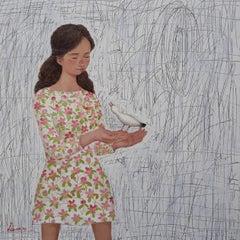 """Oiseau & Fille"" - zen, quietude, symbolism, spiritual, imagery, peaceful, girl"