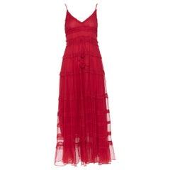 LEE MATTHEWS Eliza  100% silk crepe red V-neck ruffle tiered maxi dress US0 XS