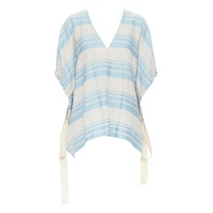 LEE MATTHEWS light grey blue striped linen cotton drawstring poncho top US0 XS