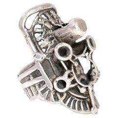Lee Peck One of A Kind Brutalist Designer Sterling Silver Statement Ring