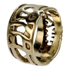 Lee Peck Signed Modernist / Brutalist 14 Karat Gold Band Ring