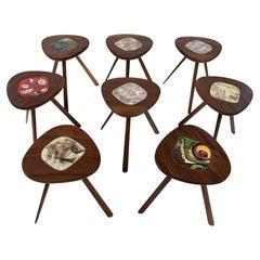 Lee Porzio & Allen Ditson Walnut  Tile Side Tables