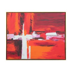 Large Red and Orange Abstract Painting