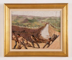 Antique Historic Ashcan Panama Canal Diggers Signed Original Rare Oil Painting